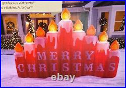 9 Ft CANDLES W MERRY CHRISTMAS SIGN Airblown Lighted Yard Inflatable