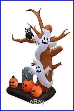 9' Tall Halloween Inflatable Tree Ghosts/Pumpkins/Owl Tombstone Decor Yard/Lawn