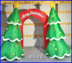 9ft Gemmy Airblown Inflatable Prototype Christmas Archway Trees withBanner #112272