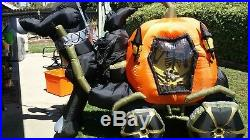 9ft Gemmy Animated Airblown Inflatable Skeleton Carriage & Pumpkin Working