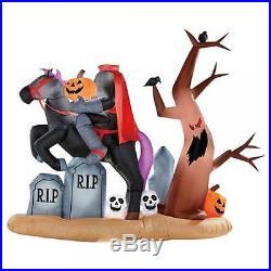 AIRBLOWN Gemmy 9ft X 7 Ft Halloween Headless Horseman Graveyard Lights up