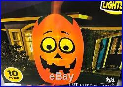 Airblown Inflatable Giant Pumpkin Jack O Lantern Halloween Yard Decor Gemmy 10FT