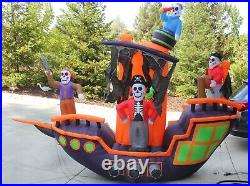 Airblown Inflatable Holiday Living Haunted Skeleton Pirate Ship 9 ft
