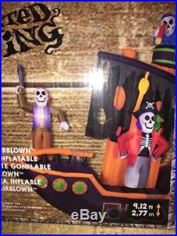 Airblown Inflatable Holiday Living Haunted Skeleton Pirate Ship Halloween