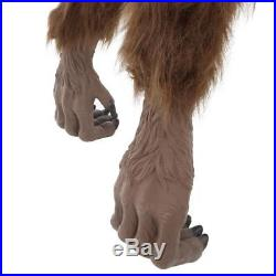 Animated Crouching Fur Werewolf LED Eyes 63 in. Halloween Yard Decor Scary Sound