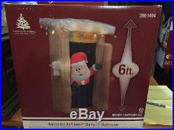 Animated Outhouse Santa Christmas 6 Ft Tall Inflatable Airblown Yard Decor Nib