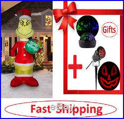 Blow Up Life Size Holiday Grinch Yard Decoration Lights Up LEDs Real Xmas, Party