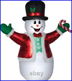 CHRISTMAS 8.5 FT MIXED MEDIA SNOWMAN CANDY CANE Airblown Inflatable GEMMY