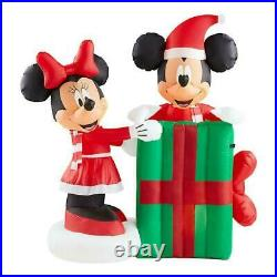 Christmas 5 Ft Santa Animated Mickey Mouse Minnie Present Airblown Inflatable