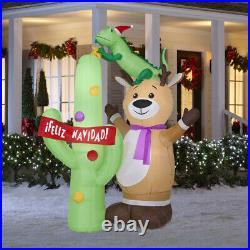 Christmas 6.9' Tall Airblown Inflatable Reindeer And Cactus ¡feliz Navidad