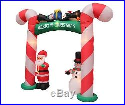 Christmas Air Blown Inflatable Candy Cane Archway Banner Santa Snowman Penguins