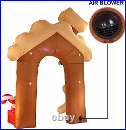 Christmas Inflatable Gingerbread House Archway 10 ft with Built-in LEDs Blow Up