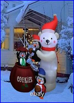 Christmas LED Animated Inflatable Yard Decoration Polar Bear Penguins Cookie Jar