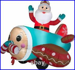Christmas Santa Animated Airplane Plane Gingerbread Inflatable Airblown 7 Ft