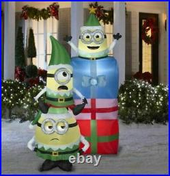 Christmas Santa Minion Elf With Gifts Presents Stack Inflatable Airblown 6.5 Ft