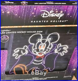 Disney Haunted Holiday Mickey Mouse Sign LED Lighted Halloween Decor Vampire