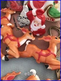 Empire Santa Claus Sleigh Blowmold 8 Reindeer RARE HTF BRAND NEW