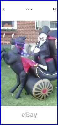 GEMMY Halloween Inflatable Grim Reaper Horse Pulling Carriage Hearse coffin