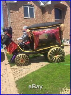 GEMMY Halloween Inflatable Grim Reaper Horse Pulling Carriage Hearse coffin 12ft