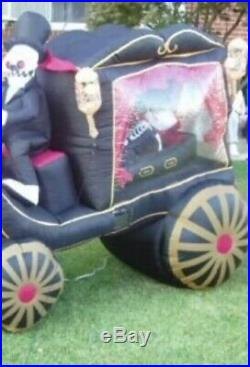 GEMMY Halloween Inflatable Grim Reaper Horse Pulling Carriage Hearse coffin 8ft
