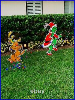GRINCH Stealing CHRISTMAS Lights Lawn Decoration & Max the Dog FREE SHIPPING