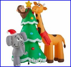 Gemmy 6 ft. Height Pre-Lit LED Inflatabel Giraffe and Elephant with Tree Scene