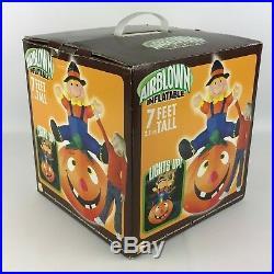 Gemmy 7' Lighted Scarecrow On Pumpkin Halloween Airblown Inflatable