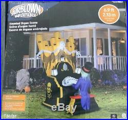Gemmy 7ft Halloween Inflatable Air Blown Skeleton/ Ghoul Organ Player NEW 2019