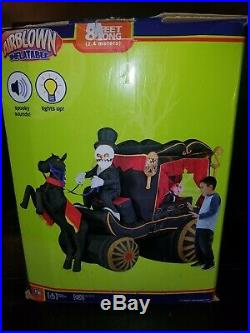 Gemmy, 8 Ft Halloween Inflatable Carriage Herse, Spooky Sounds & Lights up. NEW