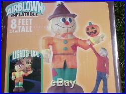 Gemmy 8' Lighted Scarecrow withPumpkin Halloween Airblown Inflatable- VERY CUTE