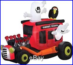 Gemmy Airblown Inflatable Animated Ghost Rider Hot Rod with Crow Holiday