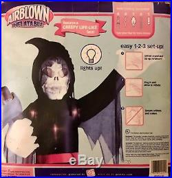 Gemmy Airblown Inflatable Grim Reaper 8' Motion Sound Box. 2007