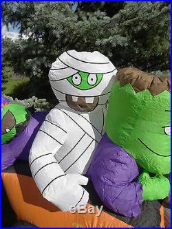 Gemmy Airblown Inflatable Halloween Frankenstein Mummy Witch Monster Hot Rod Car