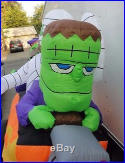 Gemmy Airblown Inflatable Halloween Frankenstein Mummy Witch Monster In Car 6