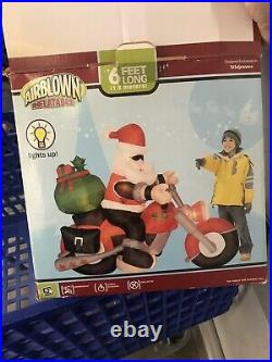 Gemmy Christmas Airblown Inflatable Santa Motorcycle Chopper 6ft Long