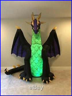 Gemmy Halloween Airblown Inflatable Green Purple Animated Dragon Blow Up Decor