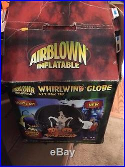 Gemmy Halloween Airblown Inflatable Whirling Globe Light Up Happy Halloween Rare