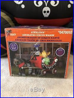 Gemmy Halloween Animated Airblown Inflatable Circus Wagon Organ Carriage Blow Up