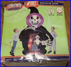 Gemmy Halloween Inflatable Airblown Whirlwind Snow Globe 7 ft Tall Ghost BATS