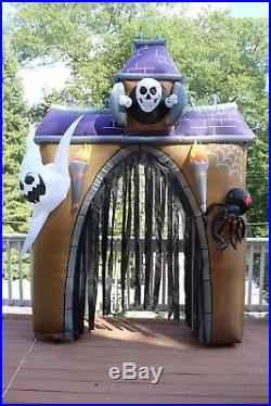 Gemmy Halloween Inflatable Haunted House Archway Arch skull ghost spider 10 FT