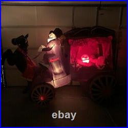 Gemmy Halloween Inflatable Horse Drawn Carriage Hearse 8 Ft Light Up Skeleton
