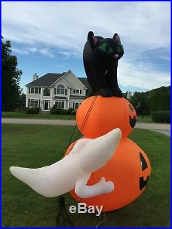 Gemmy Halloween Inflatable Pumpkins Black Cat Ghosts 12.5' Airblown Decoration