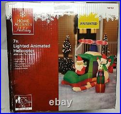 Gemmy Holiday Christmas Airblown Inflatable Animated Helicopter with Santa Snowman