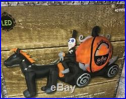 Gemmy LED Lighted Pumpkin Carriage Skeleton Airblown Inflatable Halloween Horse