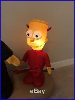 Gemmy Prototype Halloween Airblown Inflatable Homer And Bart Simpson Scene RARE