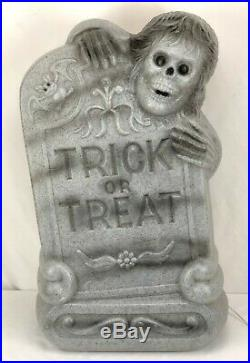 General Foam Lighted Blow Mold Trick or Treat Tombstone Grave Skeleton & Bat