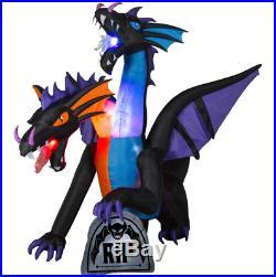 Giant Projection Airblown 2 Head Animated Dragon Halloween Inflatable Yard Decor