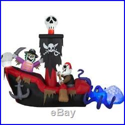 HALLOWEEN 9 Ft ANIMATED SKELETON PIRATE SHIP OCTOPUS Airblown Inflatable