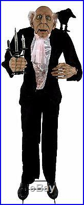 HALLOWEEN ANIMATED BUTLER With TALKING RAVEN HAUNTED HOUSE PROP DECOR LIFE SIZE