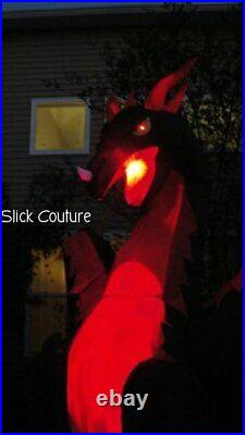 HALLOWEEN ANIMATED DRAGON Airblown Inflatable 12' WINGS FLAP Fire Ice LIGHTSHOW